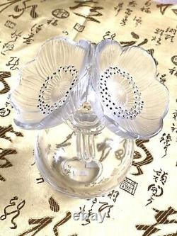 Lalique Crystal Large 2 Double Anemone Flower Perfume Bottle or Vase Mint Cond