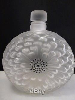 Lalique France Crystal Dahlia Perfume Bottle / DECANTER EXL CONDITION LARGE