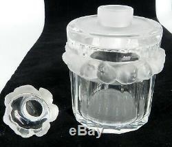 Lalique France Signed Art Glass Robinson Bird Large Perfume Bottle & Stopper