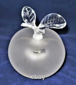 Lalique Frosted Crystal, GRAND POMME Large Apple Perfume Bottle 5 3/4 REPAIRED