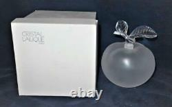 Lalique Frosted Crystal, GRAND POMME Large Apple Perfume Bottle 5 3/4 with Box