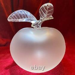 Lalique Grande Pomme Large Apple scent bottle in clear & frosted glass, 1952