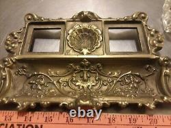 Large Antique Art Deco Solid Brass Inkwell tray with glass ink bottles heavy