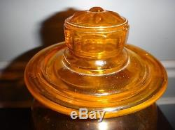 Large Antique Blown Glass Apothecary Jar Bottle Air Tight Ground Lid Candy Shop