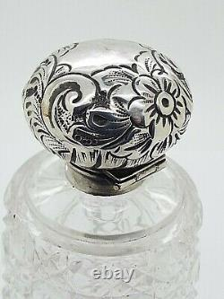 Large Antique Cut Glass Perfume Bottle Hallmarked Sterling Silver Repousse Lid