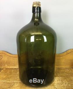 Large Antique Hand Blown Green Glass Carboy Bottle