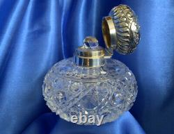 Large Antique Silver/Cut Glass Perfume Bottle Hallmarked 1902 By Mappin & Webb