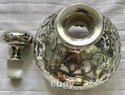 Large Antique Sterling Silver Overlay Gorham Floral Blown Glass Perfume Bottle