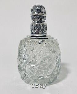Large Antique Victorian Cut Glass Scent Bottle Solid Sterling Silver Top 1893
