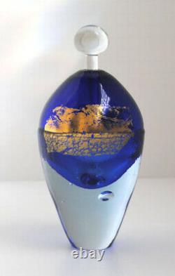 Large Art Glass Hand Blown Perfume Bottle, Cobalt Blue and Gold, Unique, Signed