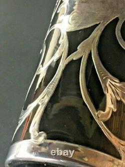 Large Art Nouveau Sterling Silver Overlay Whisky Bottle, Brown Glass