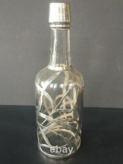 Large Art Nouveau Sterling Silver Overlay Whisky Bottle, Clear Glass