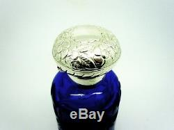 Large Blue Glass Scent Perfume Bottle Sterling Silver Lid, Hallmarked 2000