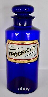 Large Cobalt Label Under Glass Apothecary Pharmacy Bottle