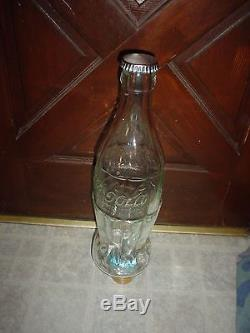 Large Coca Cola (store Display- Advertising Bank) Thick Glass Bottle With Cap