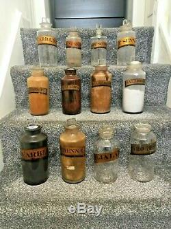 Large Collection Of Gold Label Glass Chemist Apothecary Display Jars / Bottles