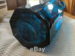 Large Early American Pittsburgh Flint Glass Back Bar Bottle Rare Color As Found