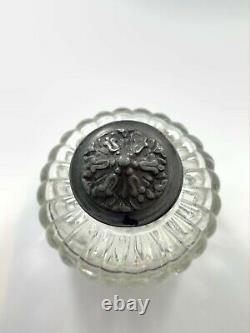 Large Fluted Glass Inkwell With Embossed Bell Flower Lid
