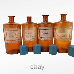 Large French Apothecary Pharmacy Chemist Bottles Jars Antique Vintage Glass X4