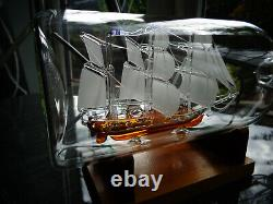 Large Glass Ship In Bottle HMS BEAGLE Top Quality As the Ship is Also Glass