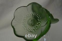 Large Lalique Signed Green 2 Anemone Flower Perfume Bottle Stopper Flacon Glass