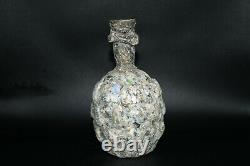 Large Lovely Iridescent Ancient Roman Glass Bottle with Nice Rainbow Patina