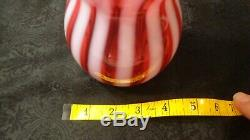 Large Opalescent & Cranberry Curved Bubble Barber Bottle 12