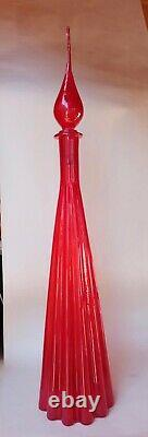 Large Red Fluted Glass Genie Bottle Decanter Mcm Glass Italy 1950s