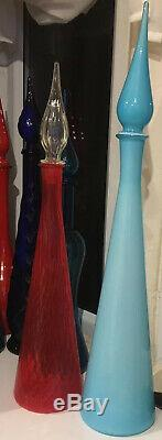 Large Red Vintage MCM Italian Empoli Glass Genie Bottle Decanter 1950s Tall 65cm