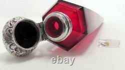 Large Silver Topped Ruby Conical Cut Glass Scent Bottle