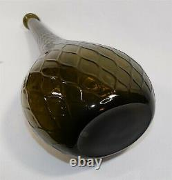 Large Smoke Vintage MCM Italy Empoli Glass Genie Quilted Bottle Decanter 25