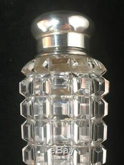 Large Sterling Silver And Cut Glass Perfume Vial / Bottle 8.5