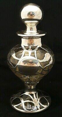 Large Sterling Silver Overlay Perfume Bottle 6 1/2 Tall