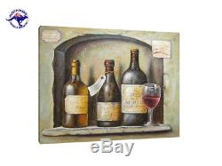 Large Still Life Oil Painting On Canvas Old Wine Bottles And A Glass (no Frame)