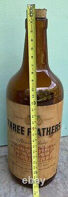 Large Three Feathers Whiskey Advertising Display Glass Bottle 28 circa 1946