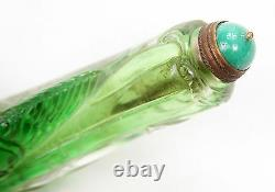 Large Unusual Antique Chinese Qing Peking Glass Carved Snuff Bottle Melon Cicada