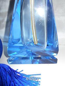 Large Vintage Heavy Blue Cut Glass Perfume Bottle with Atomizer 5 3/4 Tall