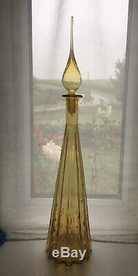 Large Yellow Amber Fluted Vintage MCM Italian Empoli Genie Bottle Decanter Glass