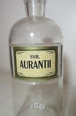 Large antique 1800's clear glass Syr Aurantii apothecary medical bottle jar