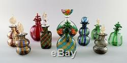 Large collection Murano flacons, 1960s. A total of ten bottles