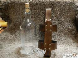 Large medieval style glass bottle with leather holder and 2 closure. LARP