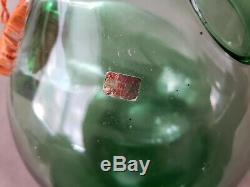 Large vintage hand blown green glass wine bottle w ice chamber from Italy