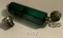 Lovely Large Victorian Green Glass & Silver Double Ended Scent / Perfume Bottle