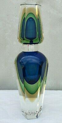 Murano Sommerso, Signed, Hand Blown Art Glass Perfume Bottle Large 11 1/4