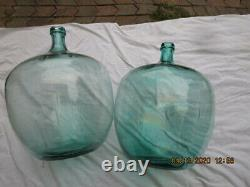 One Large Size Green Glass DEMIJOHN