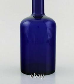 Otto Brauer for Holmegaard. Large vase / bottle in blue art glass with blue ball