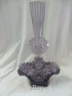 Oversized Large Czech Purple Amethyst Perfume Bottle Excellent Condition Signed