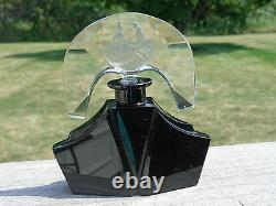 Rare Large Czech Perfume Bottle Black Tiara Clear Glass-seated Lovers Stopper