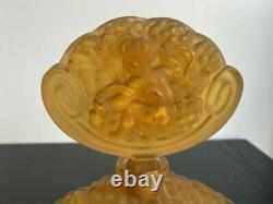 Rene Lalique Crystal Perfume Bottle Antique Amber Large 8 1/4 inch Cupid