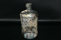 Stunning Large Ancient Roman Glass Iridescent Bottle with Lovely Rainbow Patina